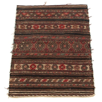 2'7 x 3'4 Handwoven Turkish Çuval Bag Face Accent Rug, 1920s