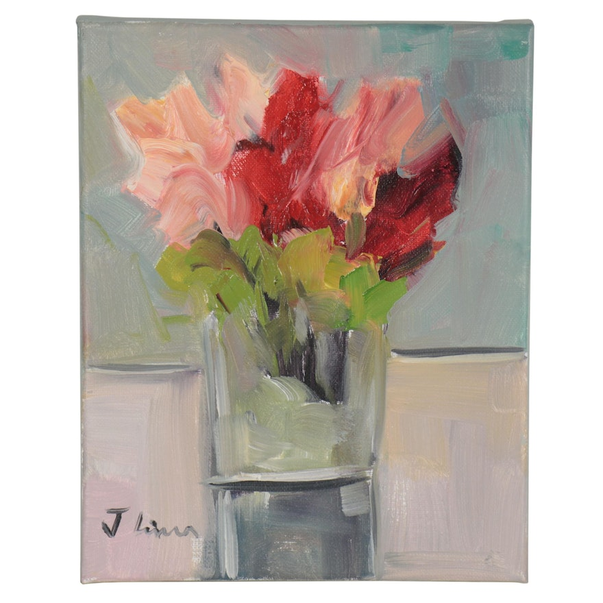 José M. Lima Still Life Oil Painting with Flowers, 2020