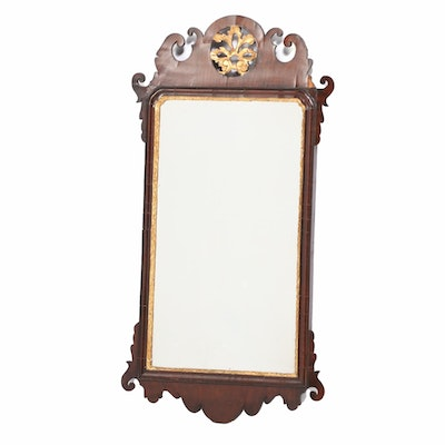 George III Fret-Carved Mahogany and Parcel-Gilt Mirror, Late 18th Century