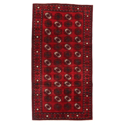 5'0 x 9'9 Hand-Knotted Persian Turkmen Area Rug, 1970s