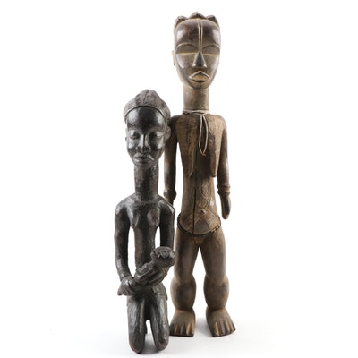 Dan-Bassa Style Carved Wooden Female Figures, West Africa