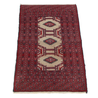 2'1 x 3'3 Hand-Knotted Pakistani Turkmen Bokhara Accent Rug, 1990s