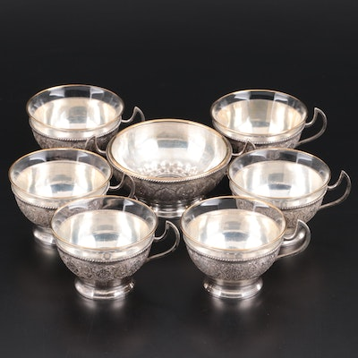 Persian Intricately Chased 800 Silver Teacup Zarfs and Sugar Bowl