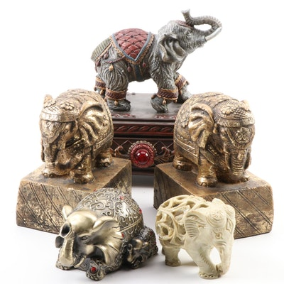 Chinese Soapstone Elephant Figurine with Bookends, and Other Elephant Form Décor