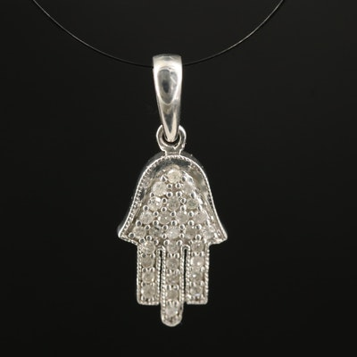 Sterling Diamond Hamsa Pendant