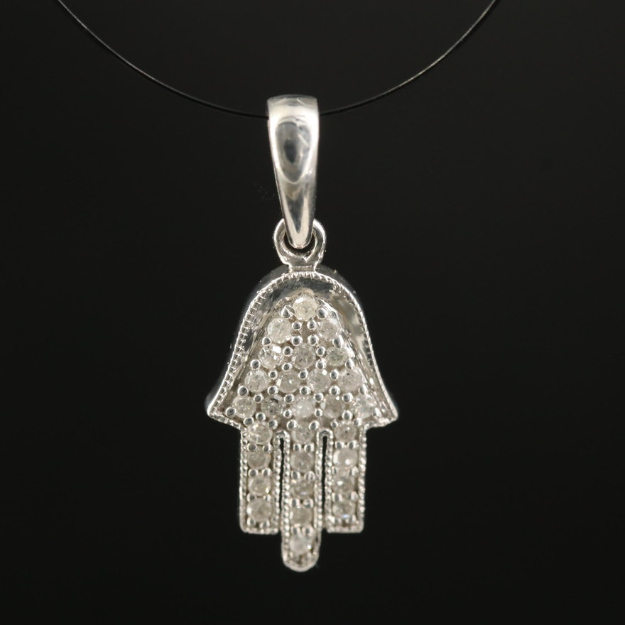 Sterling Diamond Hamsa Pendant