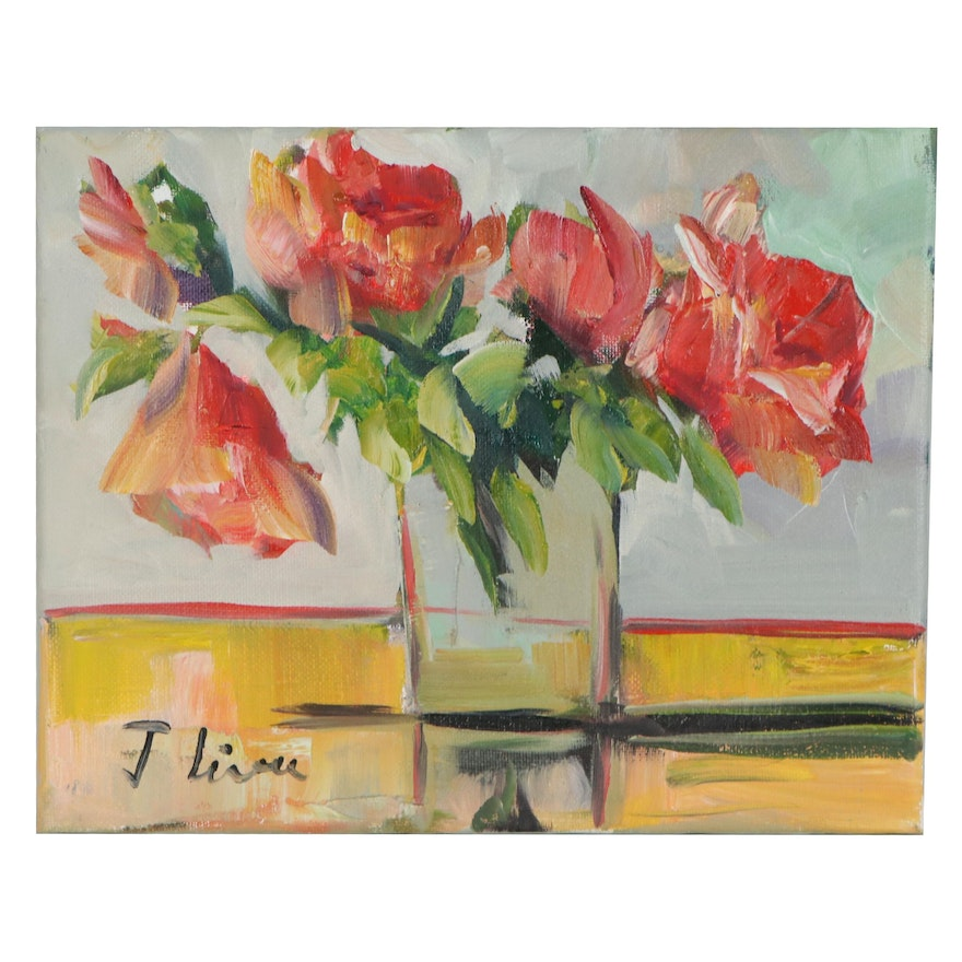 José M. Lima Still Life Oil Painting with Flowers, 2019
