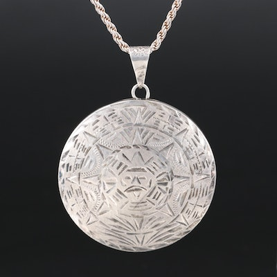 Mexican Signed Sterling Reversible Mayan Calendar and Tenochtitlán Necklace
