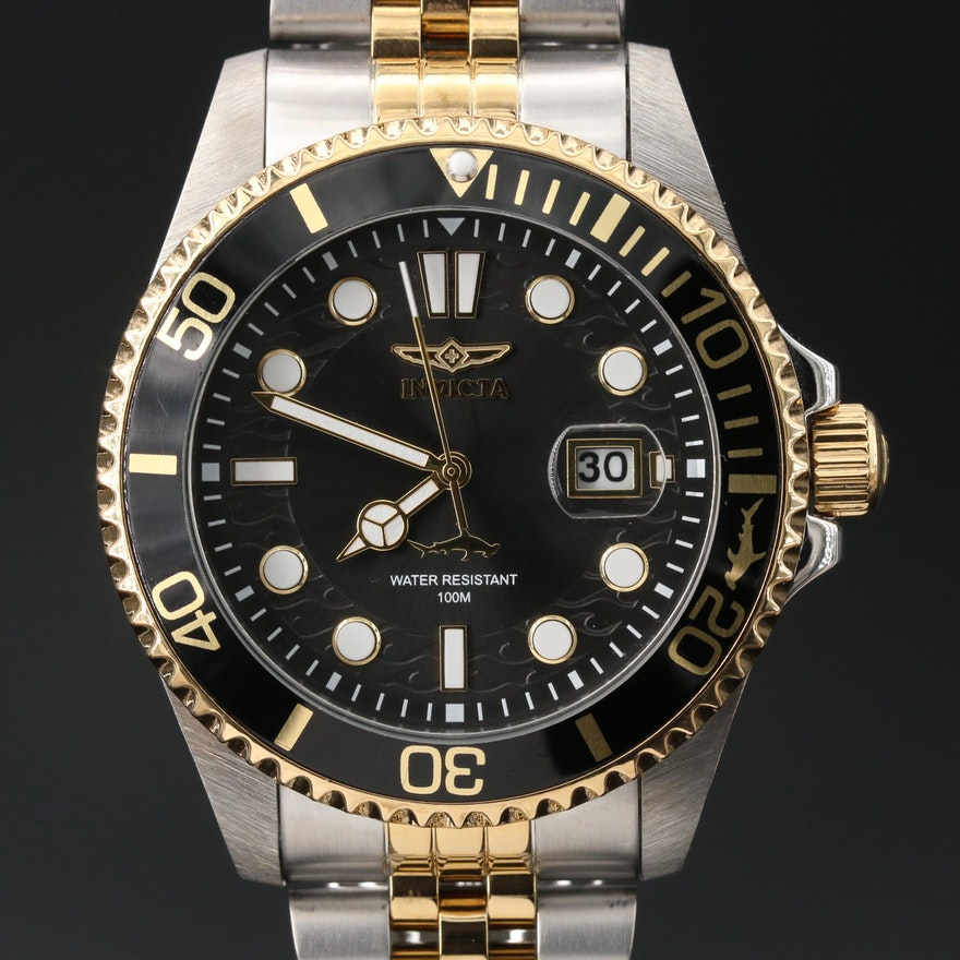 Invicta Two-Tone Stainless Steel Wristwatch with Black Dial