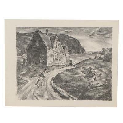 Arthur Helwig Lithograph of New England Coastal Residence, circa 1935