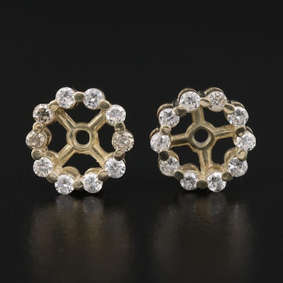 Sterling Silver Diamond Halo Earring Jackets
