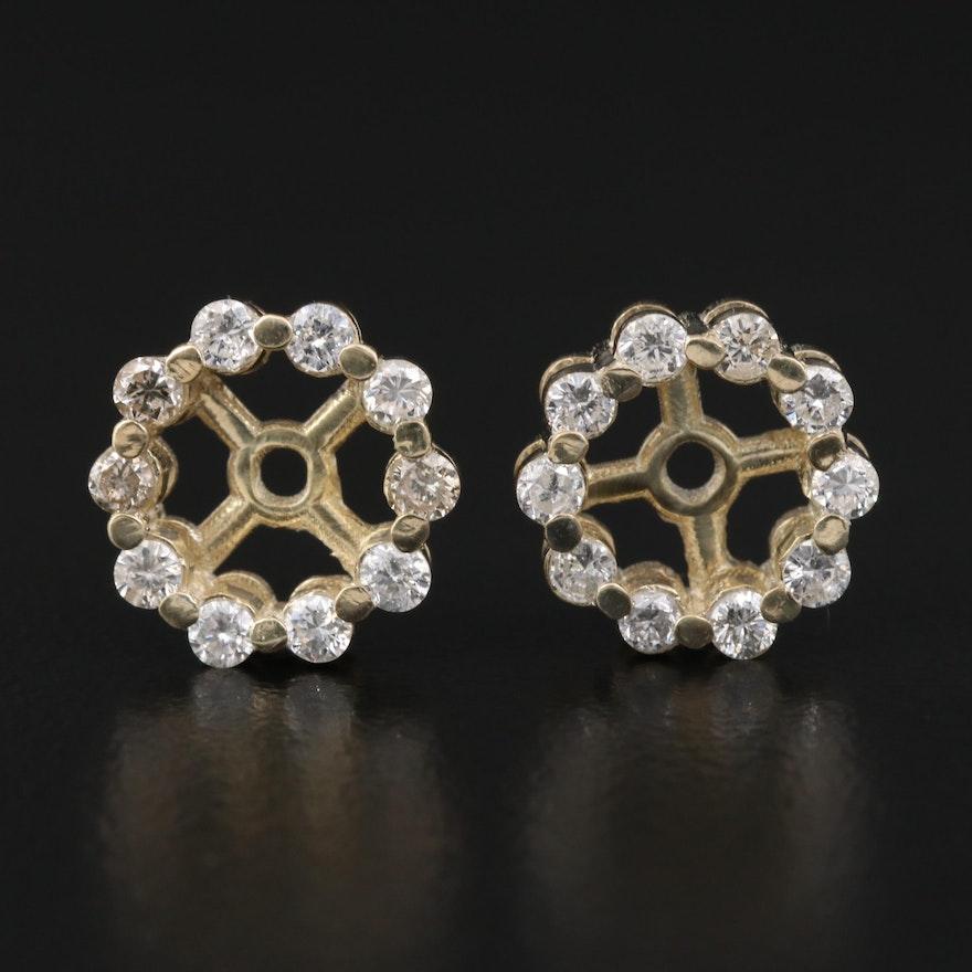 Sterling Silver Diamond Halo Earring Jackets