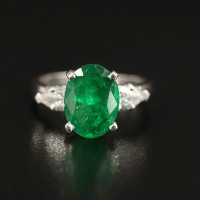 Platinum 2.24 CT Emerald and Diamond Three Stone Ring
