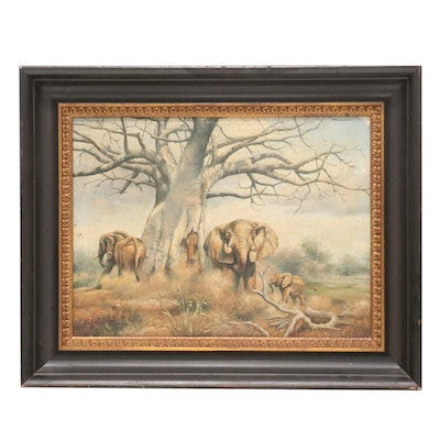 Oil Painting of Elephants, Mid to Late 20th Century