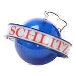 "Schlitz Beer Advertising ""Saturn Style"" Blue Globe Spinning Light Fixture, 1961"