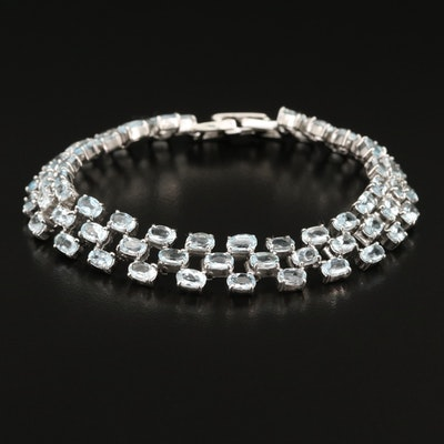 Sterling Silver Aquamarine Triple Row Bracelet