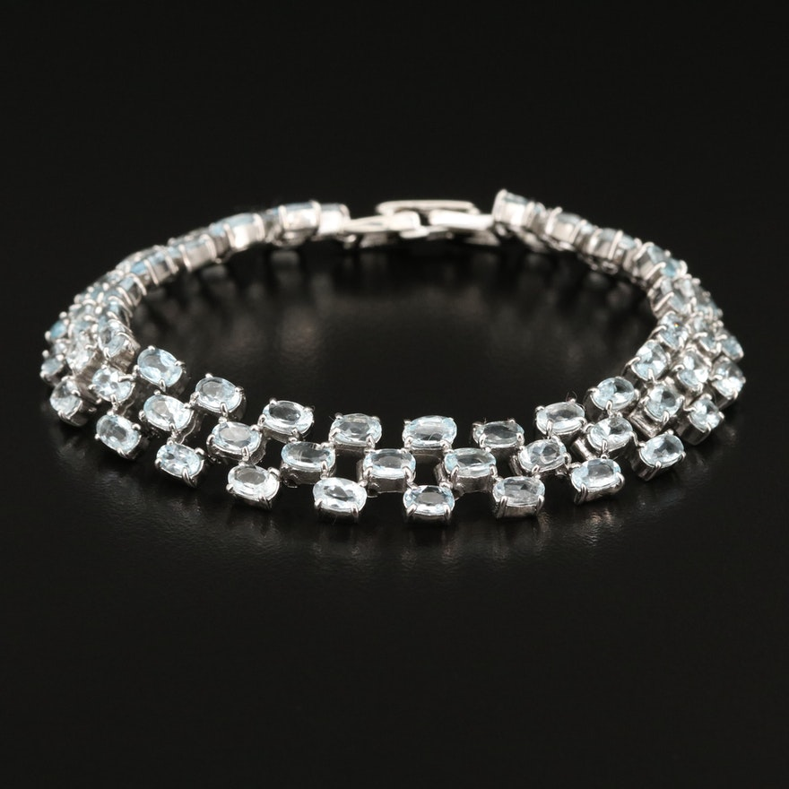Sterling Silver Aquamarine Triple Row Bracelet