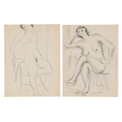 Edgar Yaeger Ink and Charcoal Study of Female Nudes, Mid-20th Century