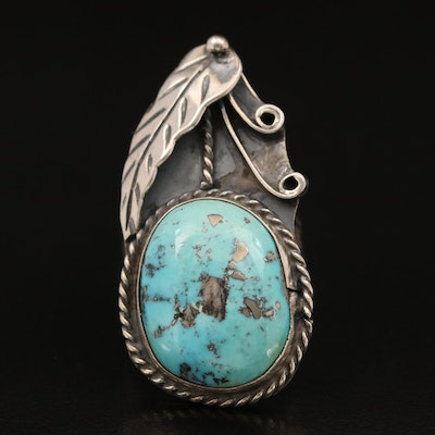 Southwestern Sterling Turquoise Wirework Ring