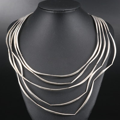 Sterling Silver Multi-Strand Bib Necklace