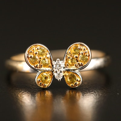 18K Diamond and Yellow Sapphire Butterfly Ring