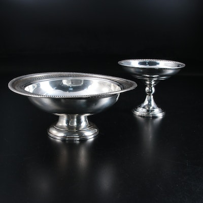 Crown Sterling Silver and Other Pedestal Bon Bon Bowls, Mid-20th Century