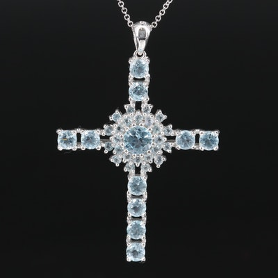 Sterling Silver Topaz Cross Pendant Necklace