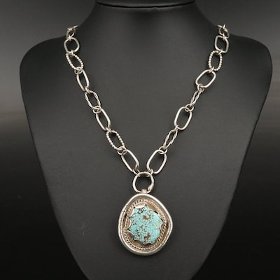 Southwestern Style Sterling Turquoise Pendant Necklace