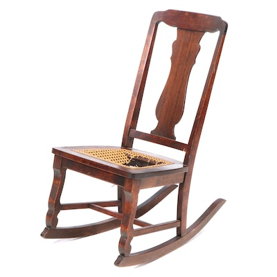 American Mahogany and Birch Rocking Chair, Late 19th/Early 20th Century