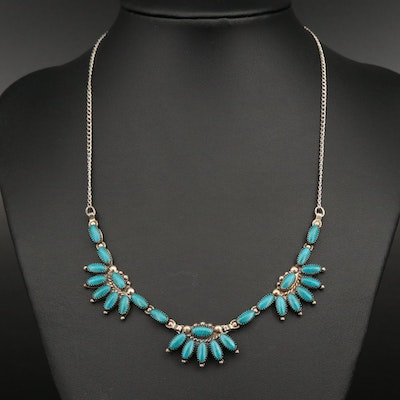 Southwestern Style Sterling Faux Turquoise Stationary Pendant Necklace