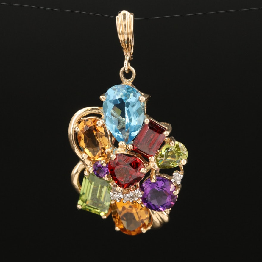 14K Multi-Gemstone and Diamond Enhancer Pendant