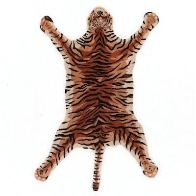 4' x 6'1 Hand-Tufted Indian Tiger Shaped Area Rug, 2000s