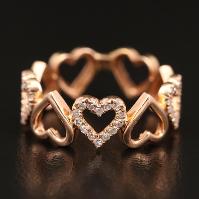 14K Rose Gold Diamond Heart Band