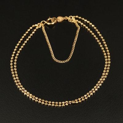 18K Double Strand Bead Chain Bracelet