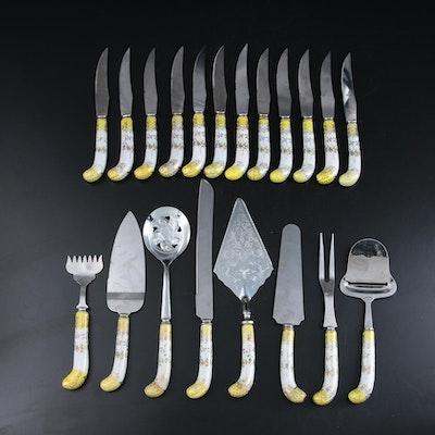 Prill Sheffield Plate Porcelain Handled Serving Utensils and Knives, Vintage