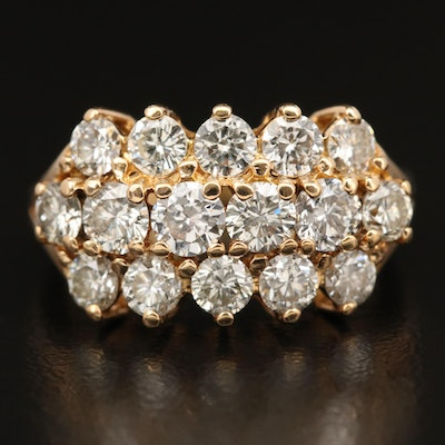 14K Three Row 1.84 CTW Diamond Ring