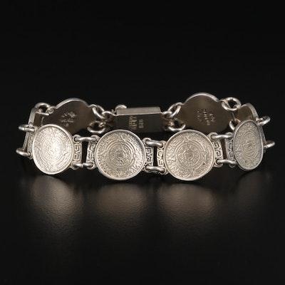 Mexican Sterling Silver Aztec Calendar Bracelet