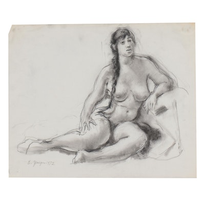 Edgar Yeager Charcoal Drawing of Nude Figure, 1972