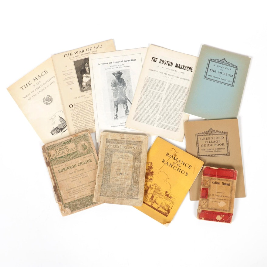 The Edison Institute Guide Books with Pamphlets and More, 19th to Mid-20th C
