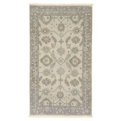 2'9 x 5'0 Hand-Knotted Indo-Turkish Oushak Accent Rug, 2010s