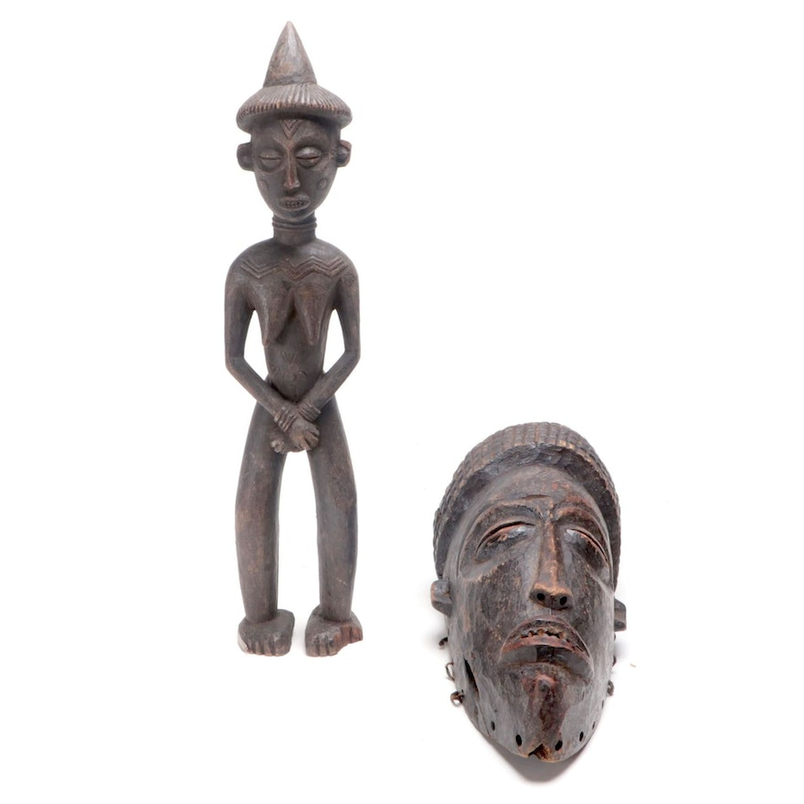 Chokwe Style Wood Figure and Mask, Central Africa