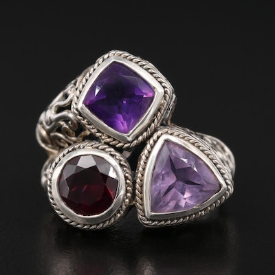 Sterling Amethyst and Garnet Scrollwork Ring