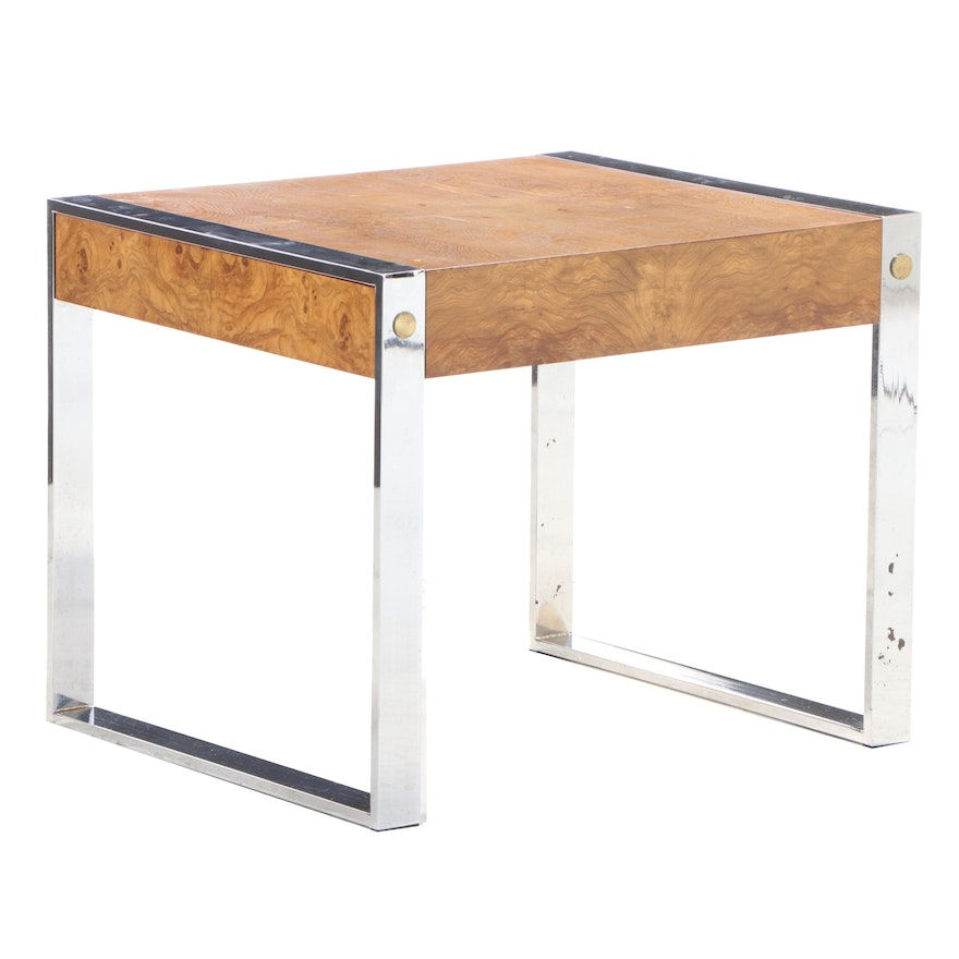 "Drexel ""Et Cetera"" Modernist Style Chrome and Burl Walnut Side Table"