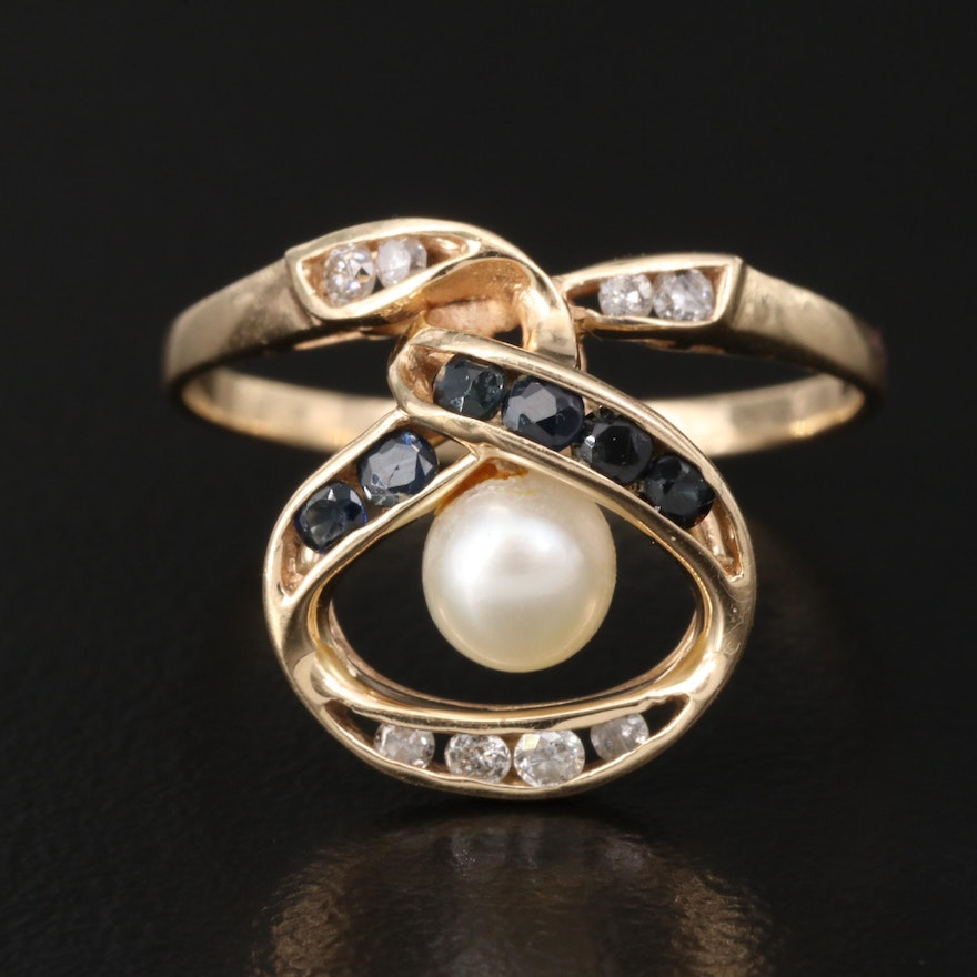 14K Pearl, Diamond and Sapphire Ring with Twisting Design