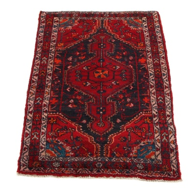 2'9 x 4'2 Hand-Knotted Persian Zanjan Accent Rug, 1960s