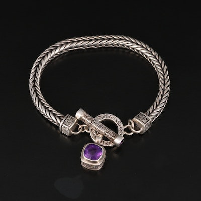 Sterling Foxtail Chain Bracelet with Amethyst Drop