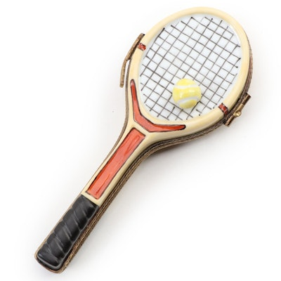Hand-Painted Porcelain Tennis Racquet Limoges Box