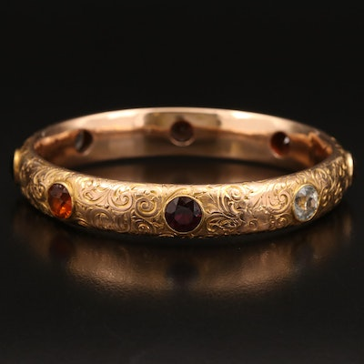 Vintage 14K Bangle with Kyanite, Zircon, Garnet, Citrine, Sapphire and Amethyst