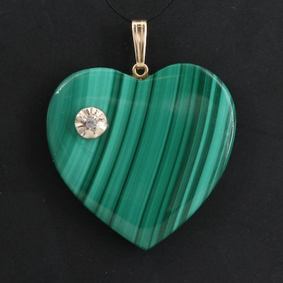 14K Malachite and Spinel Heart Pendant