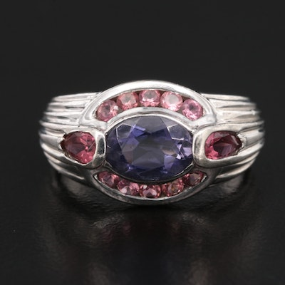 Sterling Silver Tanzanite and Tourmaline Ring